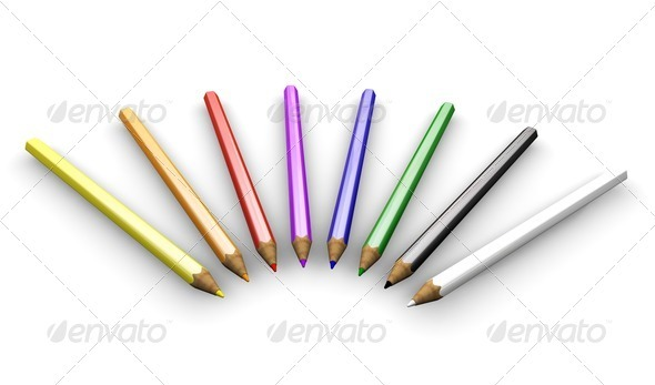 Coloured pencils - Objects 3D Renders