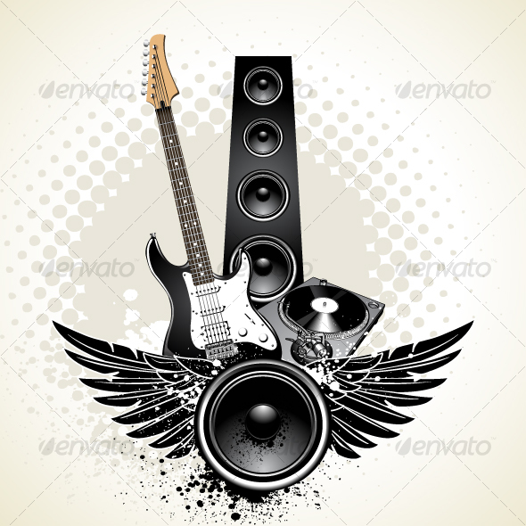 Speaker with wings and instruments - Objects Vectors