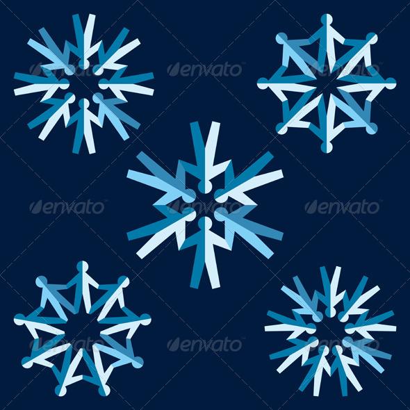Set of Origami People Snowflakes - Christmas Seasons/Holidays