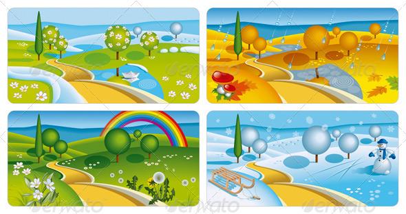 Four Seasonal Banners - Seasons Nature