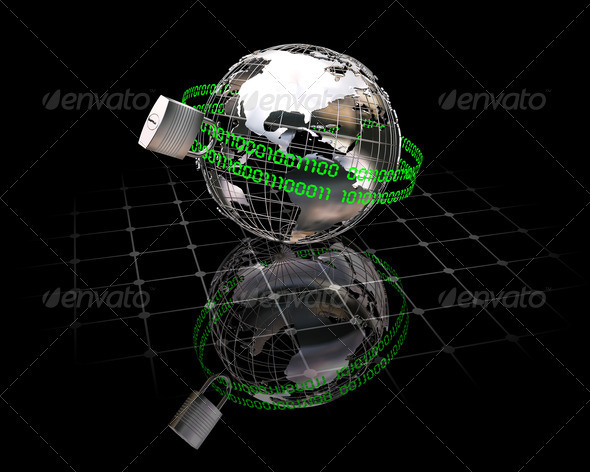 Internet security - Technology 3D Renders