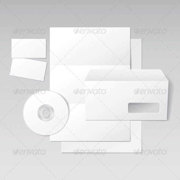 Blank Letter, Envelope, Business Cards and CD - Miscellaneous Vectors
