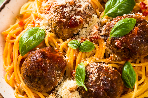 Pasta with Meatballs in tomato sauce - Stock Photo - Images