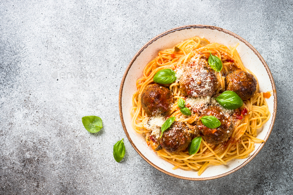 Pasta with Meatballs in tomato sauce top view - Stock Photo - Images