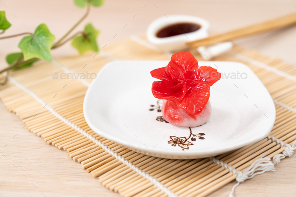 Chinese red color flower dumpling or dim sum - Stock Photo - Images
