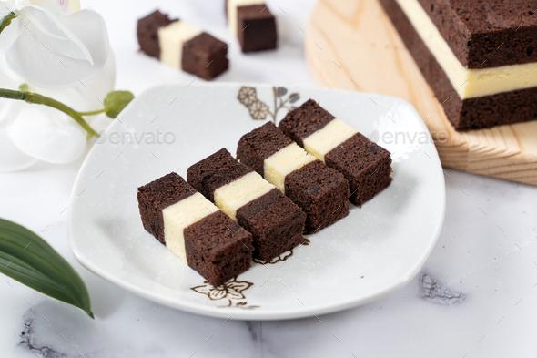 Homemade three layer steam chocolate cheese cake - Stock Photo - Images