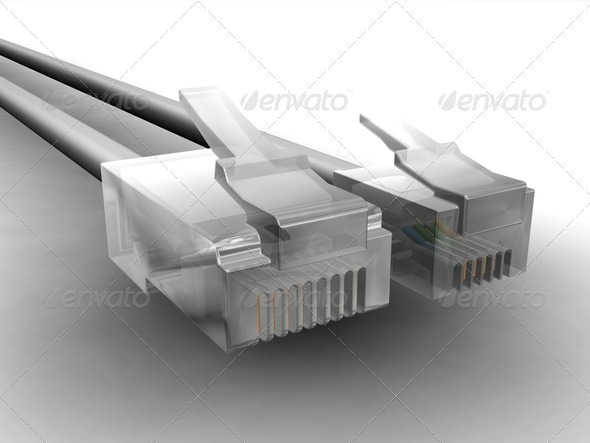 RJ45 and RJ11 cables - Technology 3D Renders