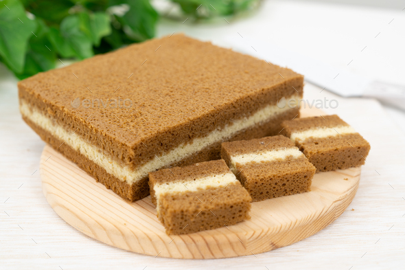 Southeast Asia three layers steamed coffee cake - Stock Photo - Images