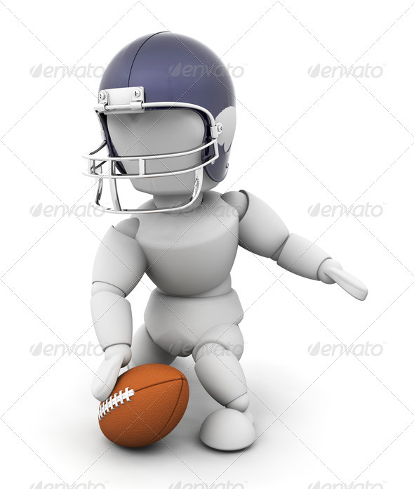 American football player - Characters 3D Renders