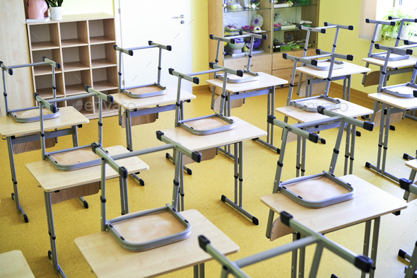 Empty classroom during a pandemic - Stock Photo - Images