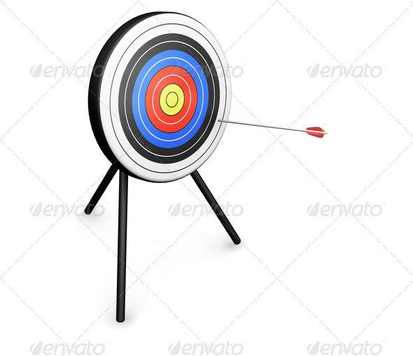Arrow hitting target - Objects 3D Renders