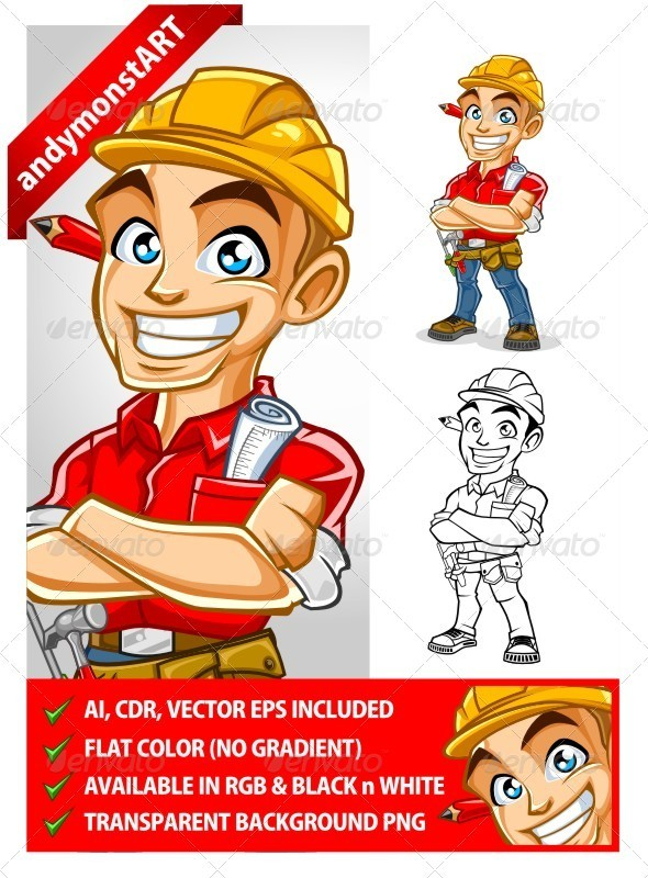 Construction Worker Mascot Set - People Characters