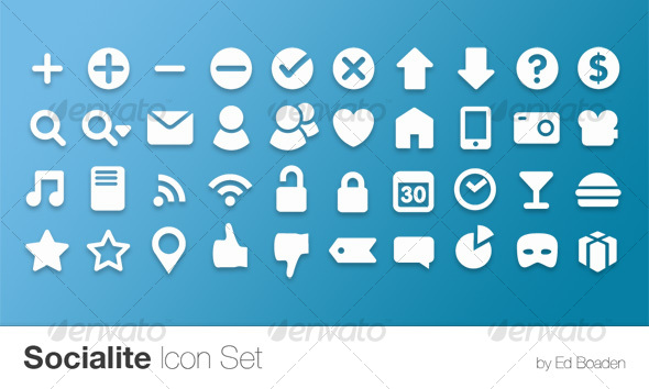 Socialite Icon Set (40 Vector Icons) - Web Icons