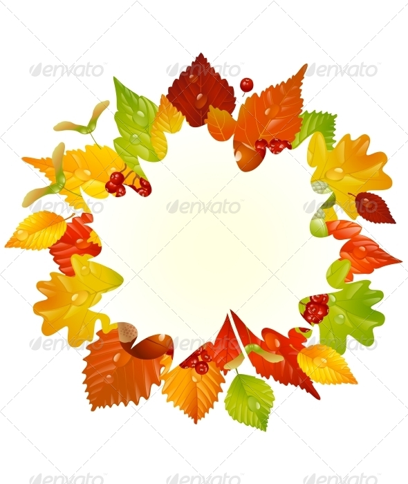 Vector autumn frame with fall leaf, chestnut, acor - Seasons Nature