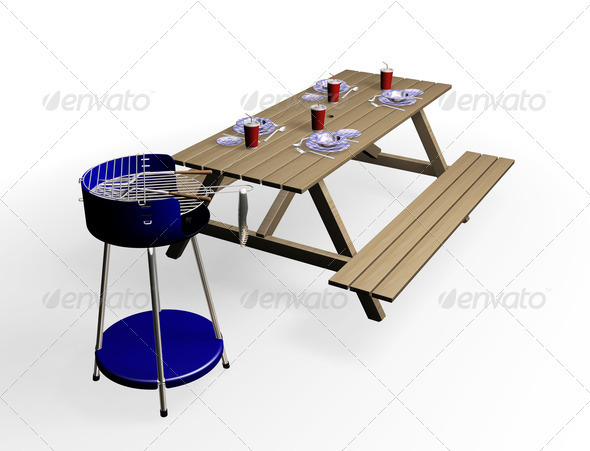 Barbecue with bench - Objects 3D Renders