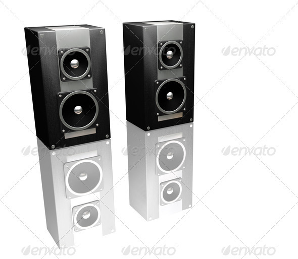 Black speakers - Technology 3D Renders