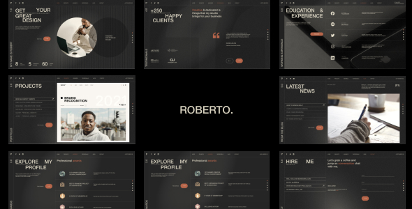 Roberto. – Onepage Horizontal Personal CV/Resume HTML Template