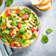 Shrimp salad with green leaves at stone table - PhotoDune Item for Sale