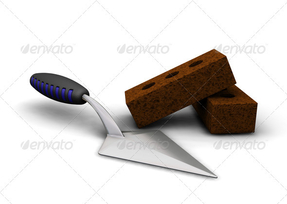 Trowel and bricks - Objects 3D Renders
