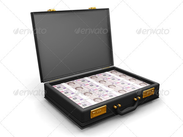 Briefcase full of money - Objects 3D Renders