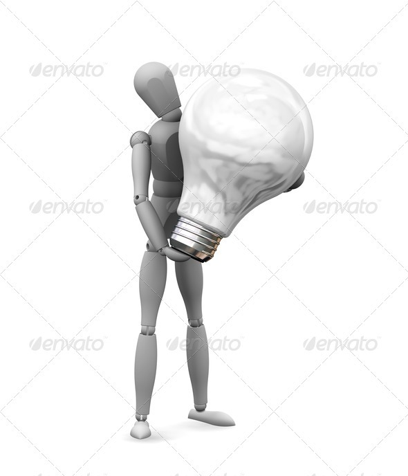 Man holding a lightbulb - Characters 3D Renders