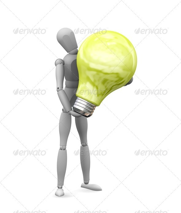 Man holding lightbulb - Characters 3D Renders