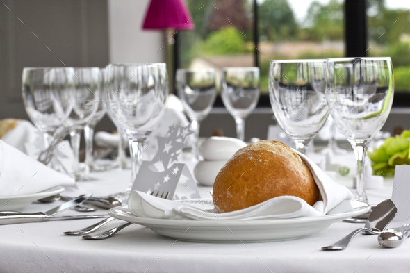 Bread and table set - Stock Photo - Images