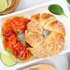 Sliced salmon with avocado on bagel with sesame seeds on gray stone background. - PhotoDune Item for Sale