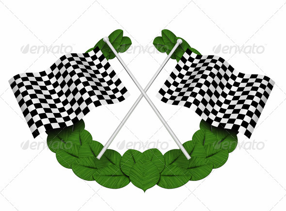 Chequered flags - Objects 3D Renders