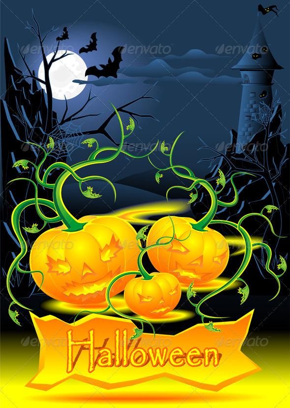 Halloween illustration with evil light pumpkins  - Halloween Seasons/Holidays