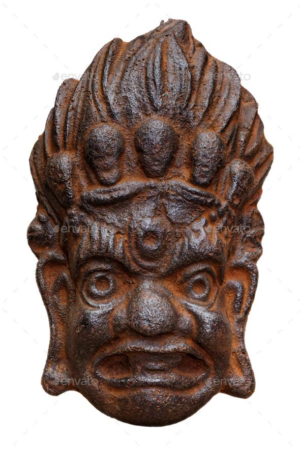 Traditional cast-iron mask of Mahakala - Stock Photo - Images
