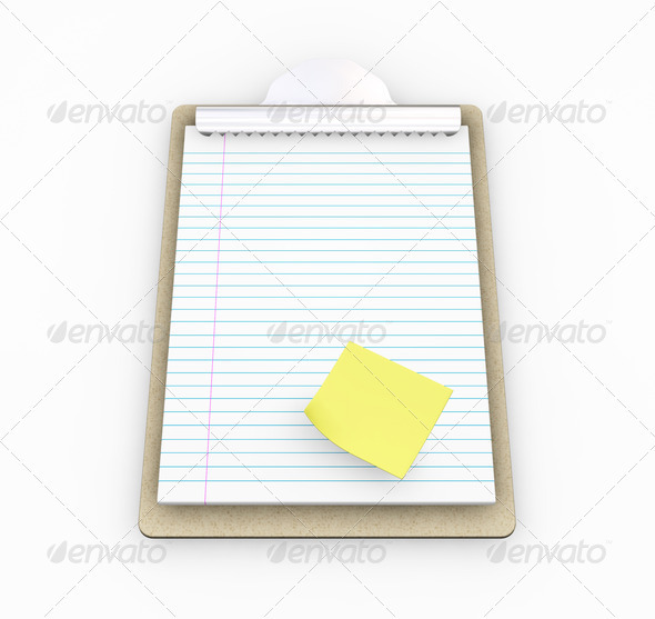 Clipboard with post-it note - Objects 3D Renders