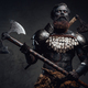 Proud and evil barbarian with two axes posing in dark background - PhotoDune Item for Sale