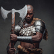 Fearful african soldier with axe stares at camera in dark background - PhotoDune Item for Sale