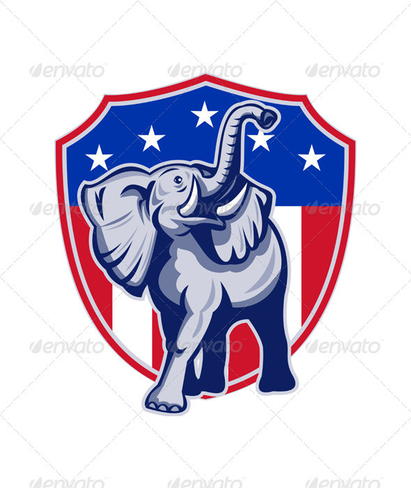 Republican Elephant Mascot USA Flag Shield - Animals Characters