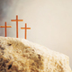 Silhouette of three crosses on Calvary hill, grey background. Crucifixion, resurrection of Jesus - PhotoDune Item for Sale