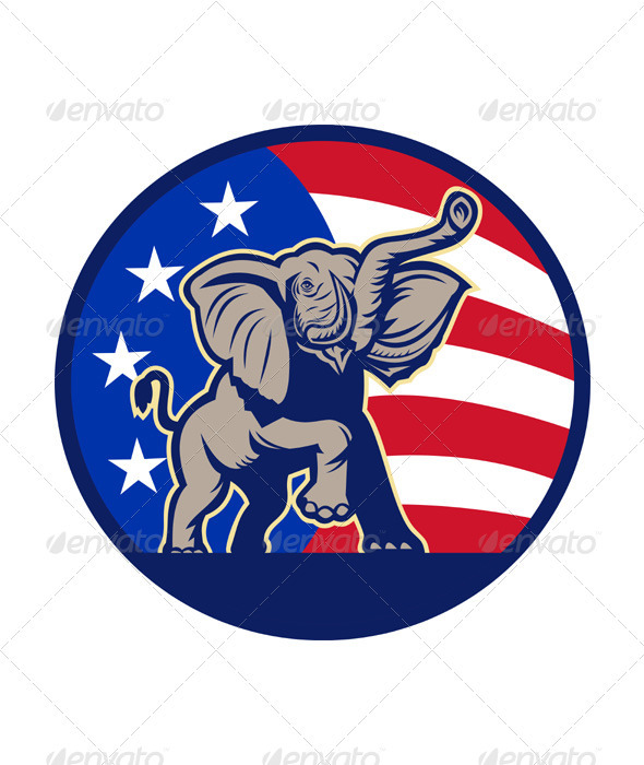 Republican Elephant Mascot USA Flag - Animals Characters