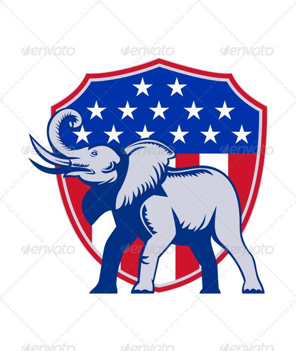 Republican Elephant Mascot USA Flag - Animals Characters