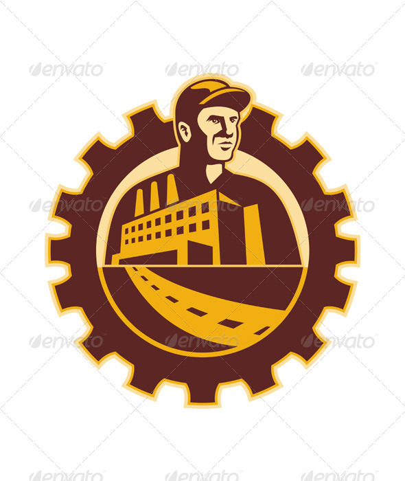Factory Worker Mechanic With Cog Building - Industries Business