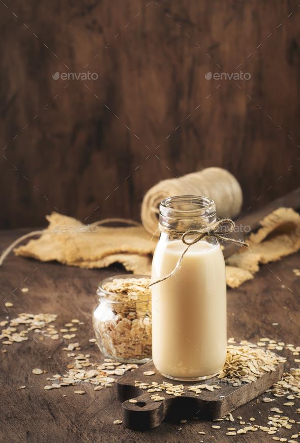 Oat flakes milk - Stock Photo - Images
