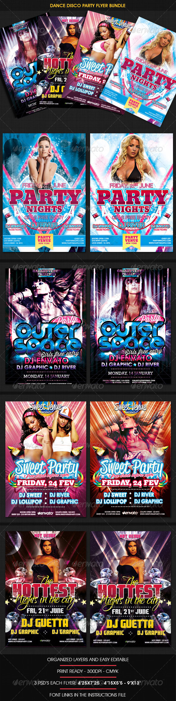 Dance Disco Party Flyer Bundle - Clubs & Parties Events
