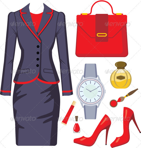 Fashion set from a female suit, accessories and co - Characters Vectors