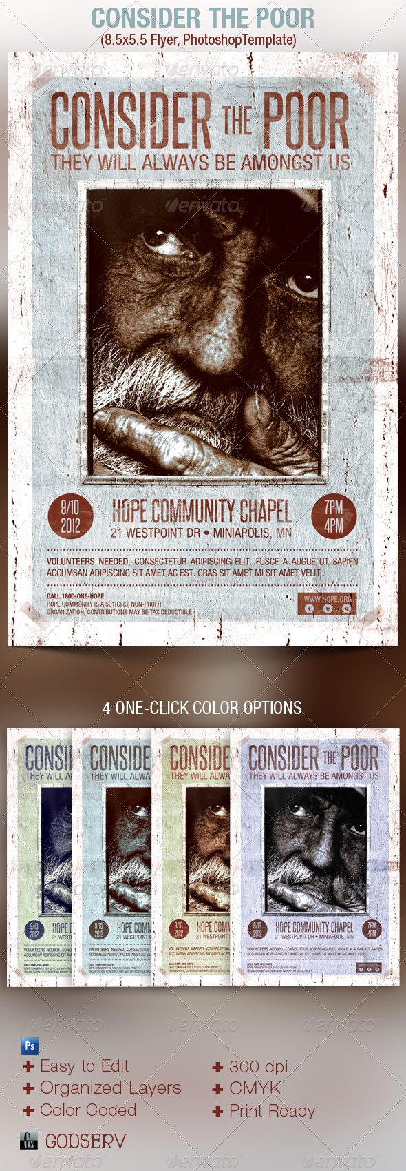 Consider Poor Charity Flyer Template - Church Flyers