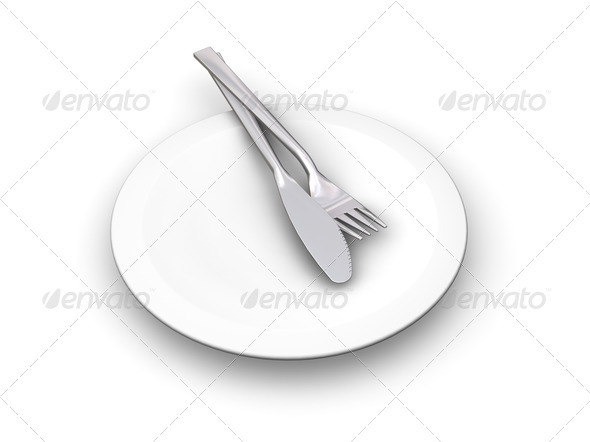 Plate with cutlery - Objects 3D Renders