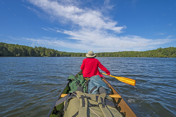 Paddling into the Wilderness - Stock Photo - Images