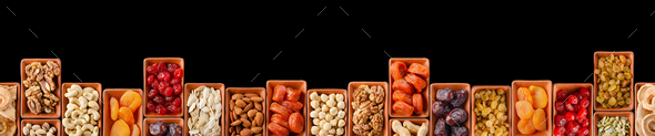 Horizontally Seamless flat lay food frame of dehydrated fruits - Stock Photo - Images