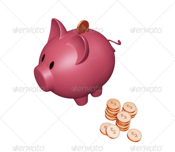 Piggy bank with dollars - Objects 3D Renders