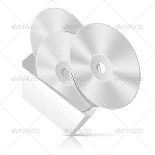 CD Box With Disks Template - Miscellaneous Vectors