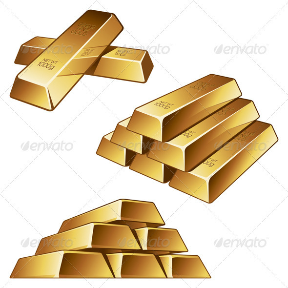 Gold Bars on White Background - Man-made Objects Objects