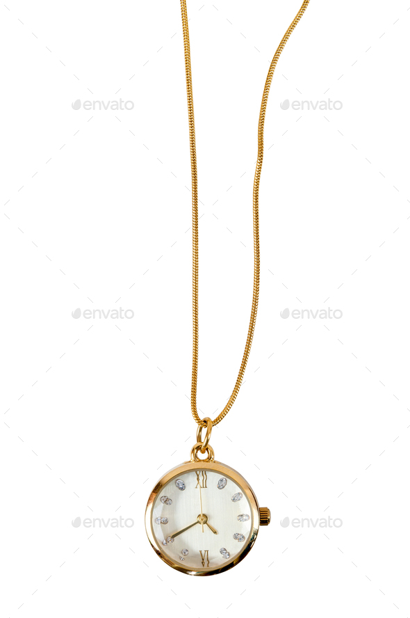 Necklace watch on white background - Stock Photo - Images
